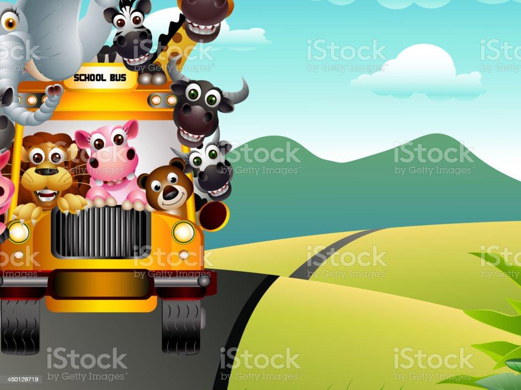funny animal wildlife cartoon on yellow school bus vector art illustration