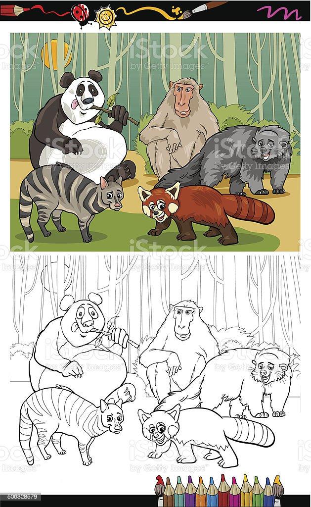 funny animals cartoon coloring book vector art illustration