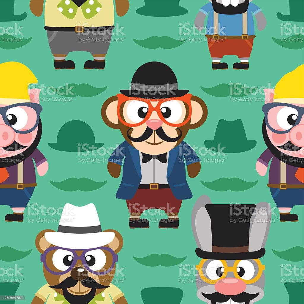 Funny animals hipster seamless card vector art illustration