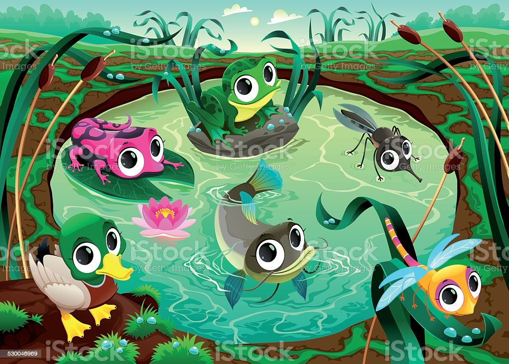 Funny animals in the pond vector art illustration