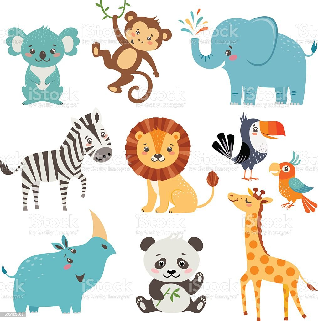 Funny animals vector art illustration