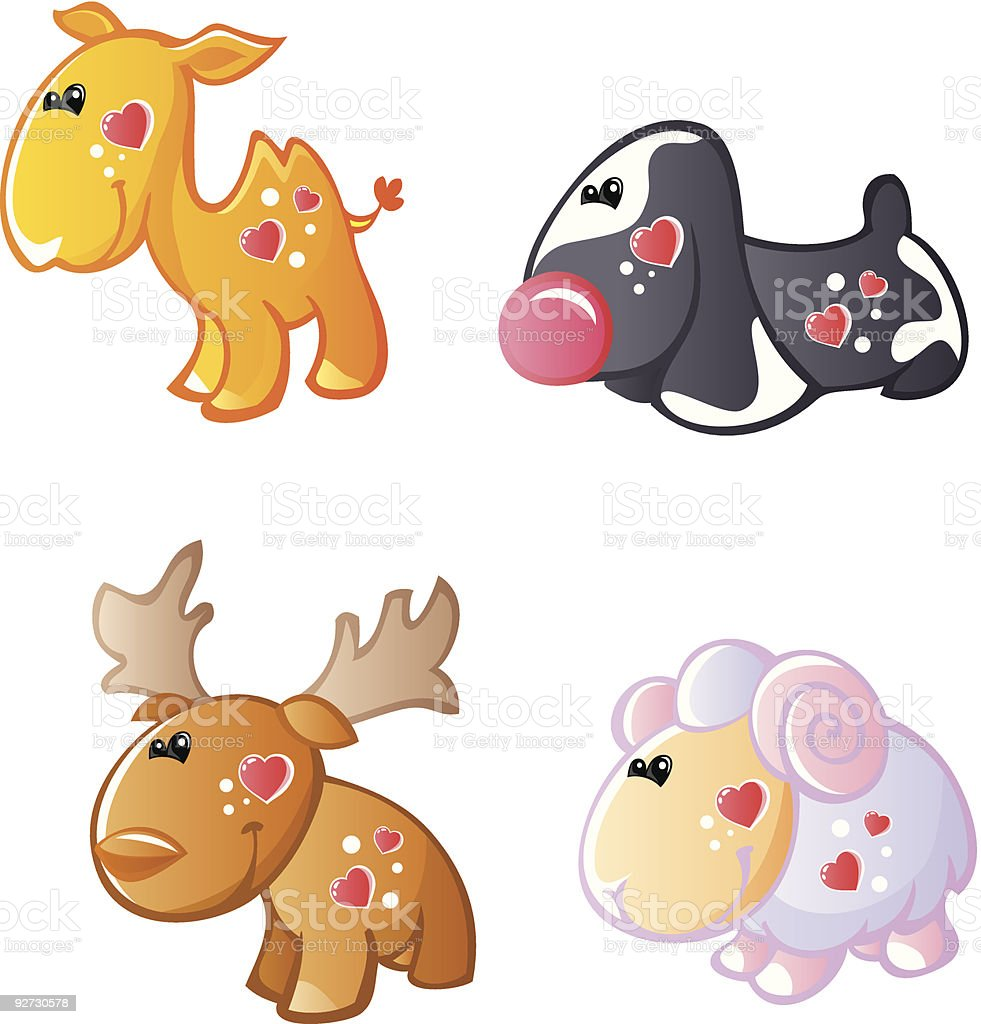 Funny animals with hearts 3 royalty-free stock vector art
