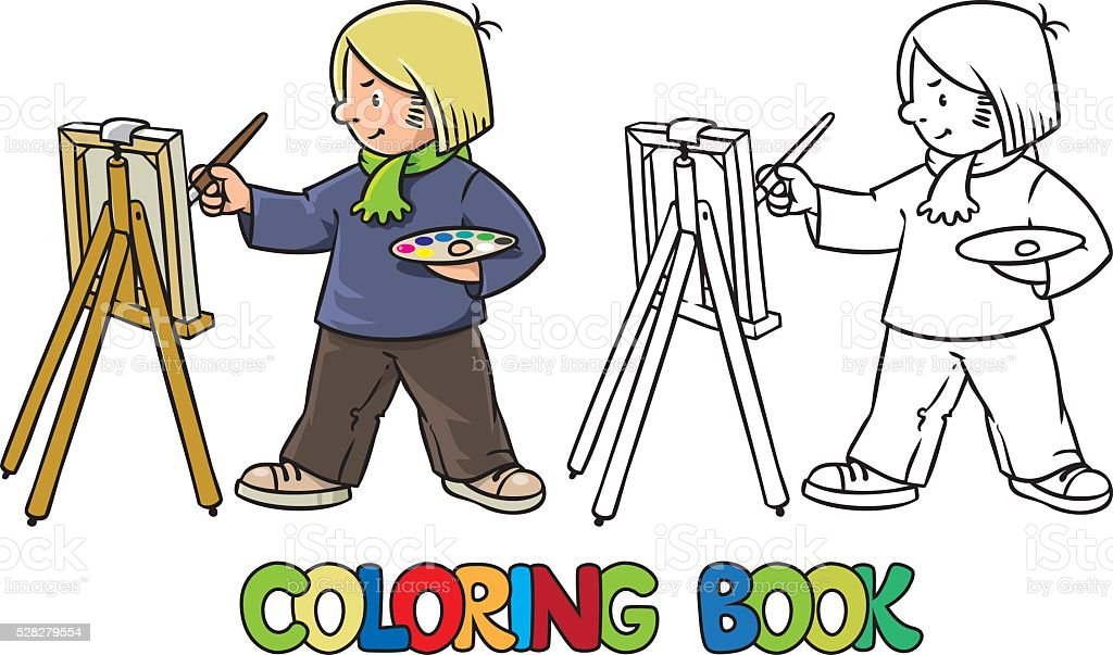 Funny artist or painter. Coloring book vector art illustration