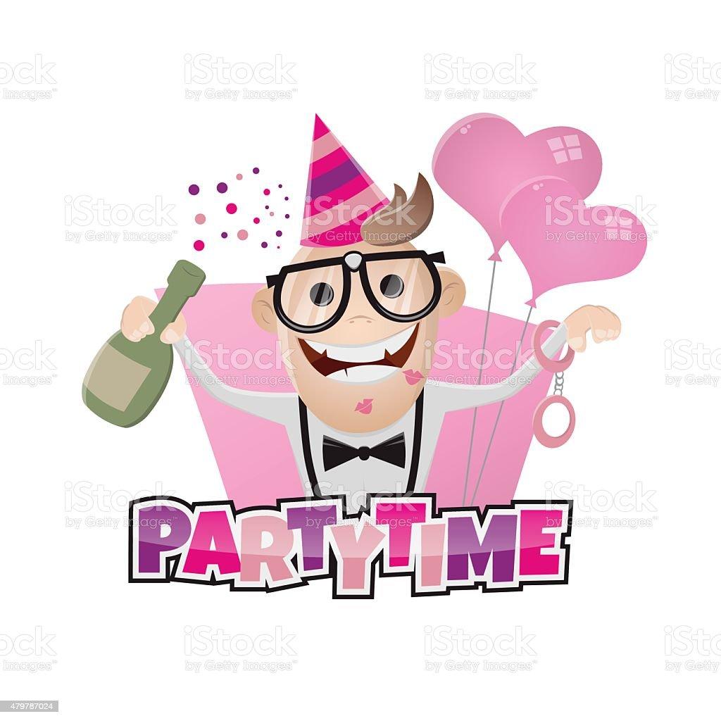 funny bachelor party man vector art illustration