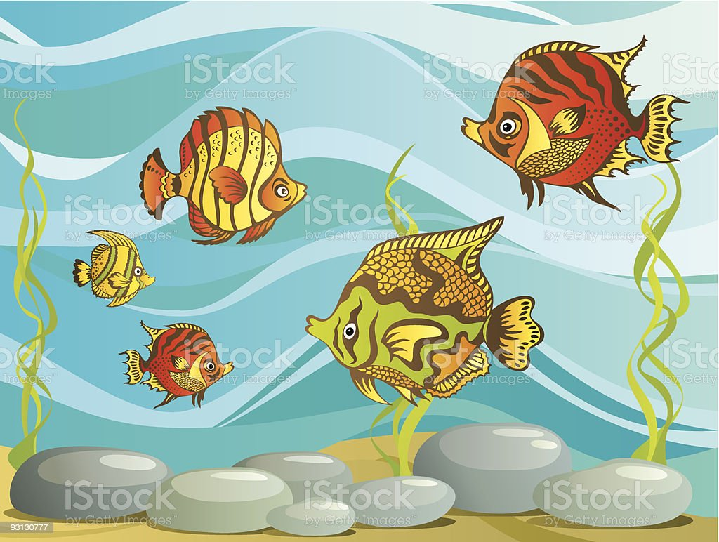 Funny background with fishes royalty-free stock vector art