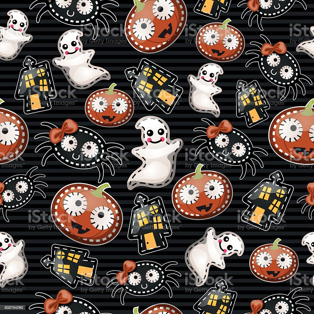 Funny background with symbols of Halloween vector art illustration