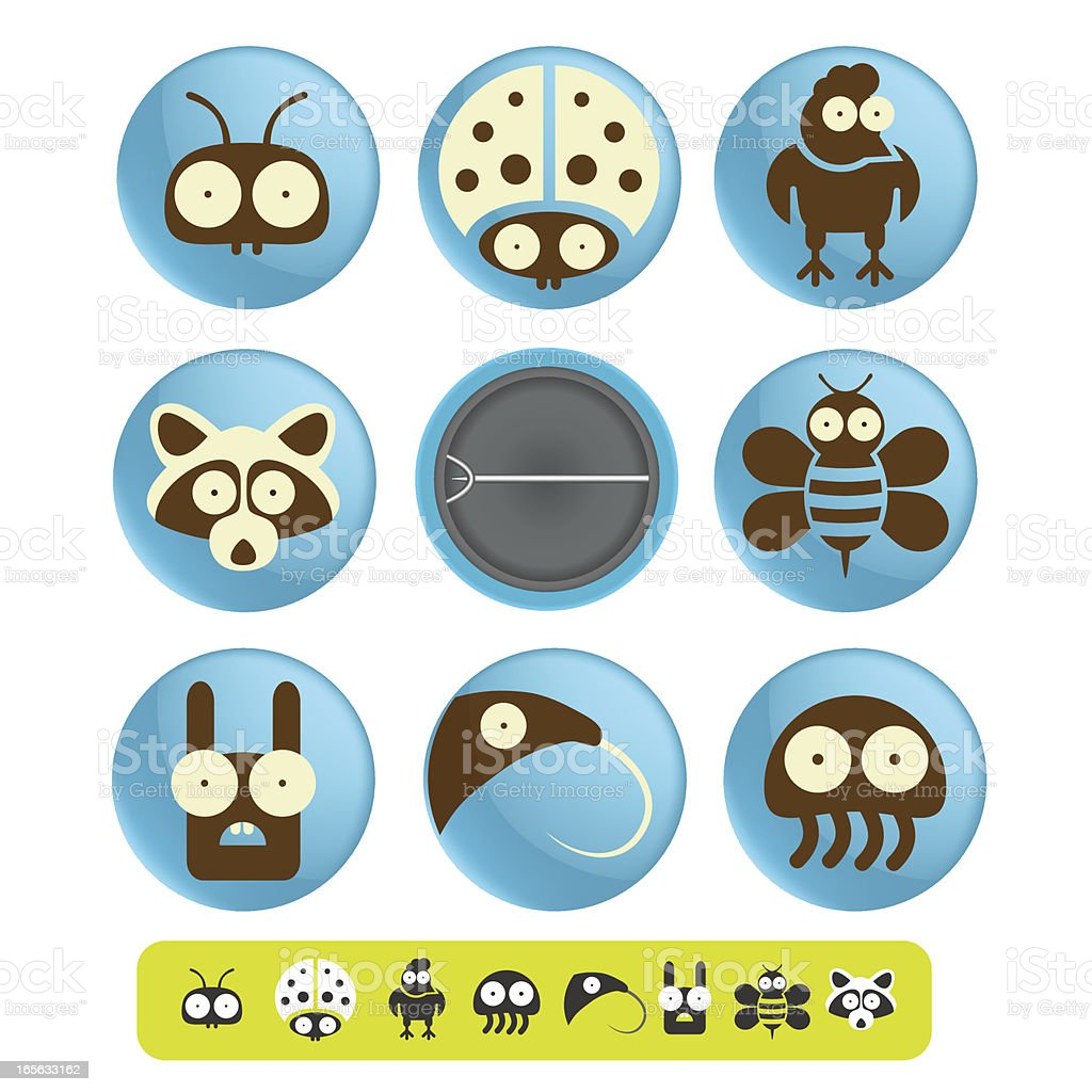 Funny badges and pins icon vector art illustration