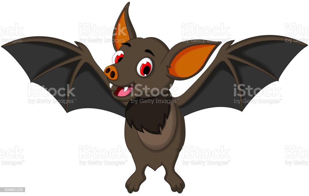 funny bat cartoon posing stand vector art illustration