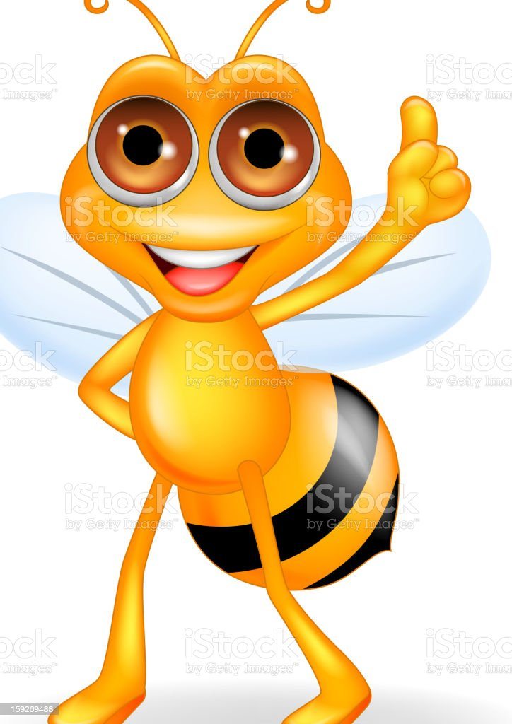 Funny bee cartoon royalty-free stock vector art