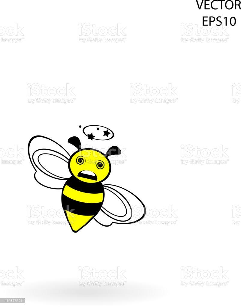 funny bee icon vector art illustration