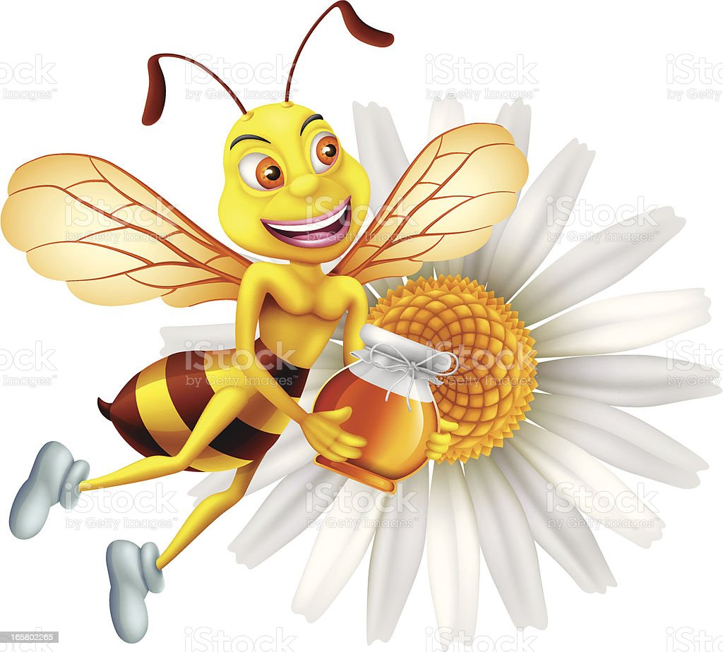 Funny Bee with Honey royalty-free stock vector art