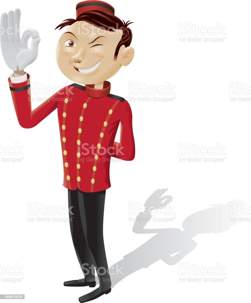 Funny bellboy doing OK sign - isolated full picture vector art illustration