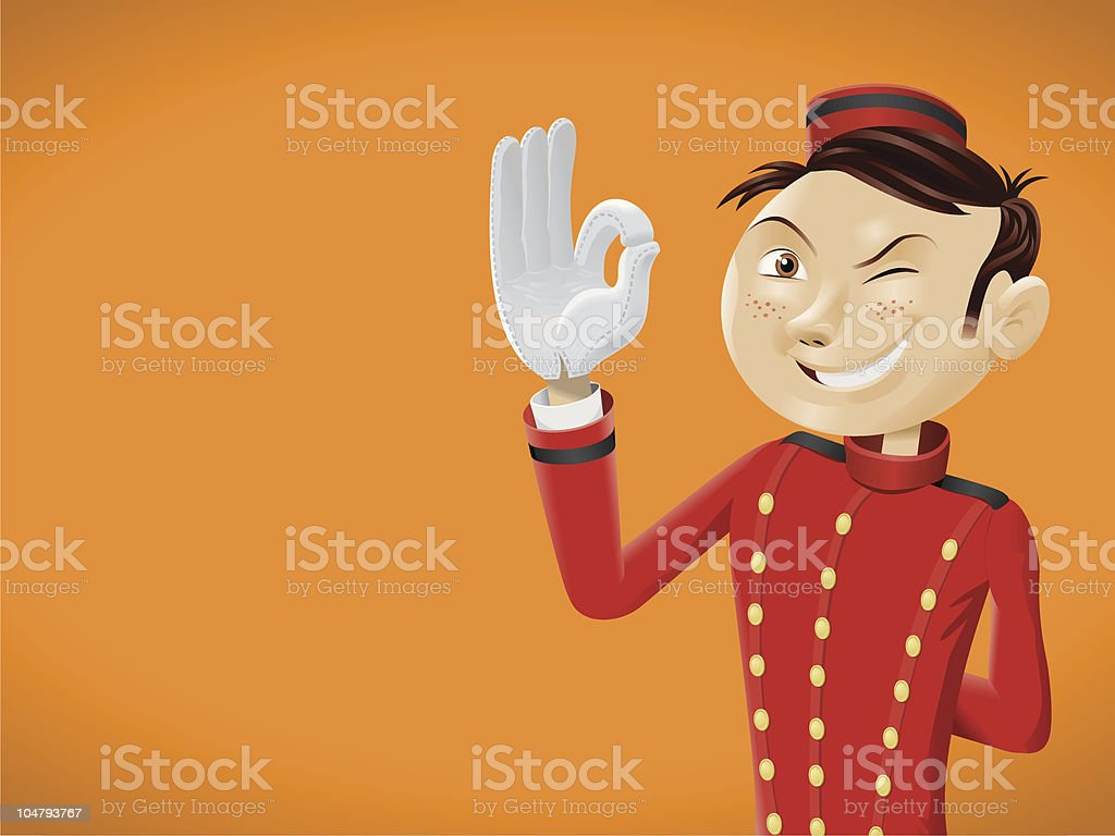 Funny bellboy doing OK sign royalty-free stock vector art