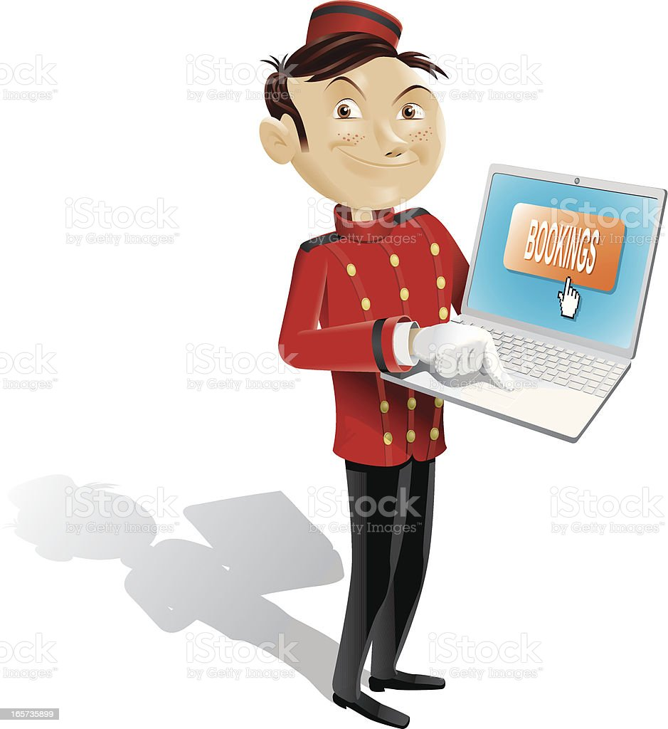 Funny bellboy doing online booking - isolated full picture royalty-free stock vector art