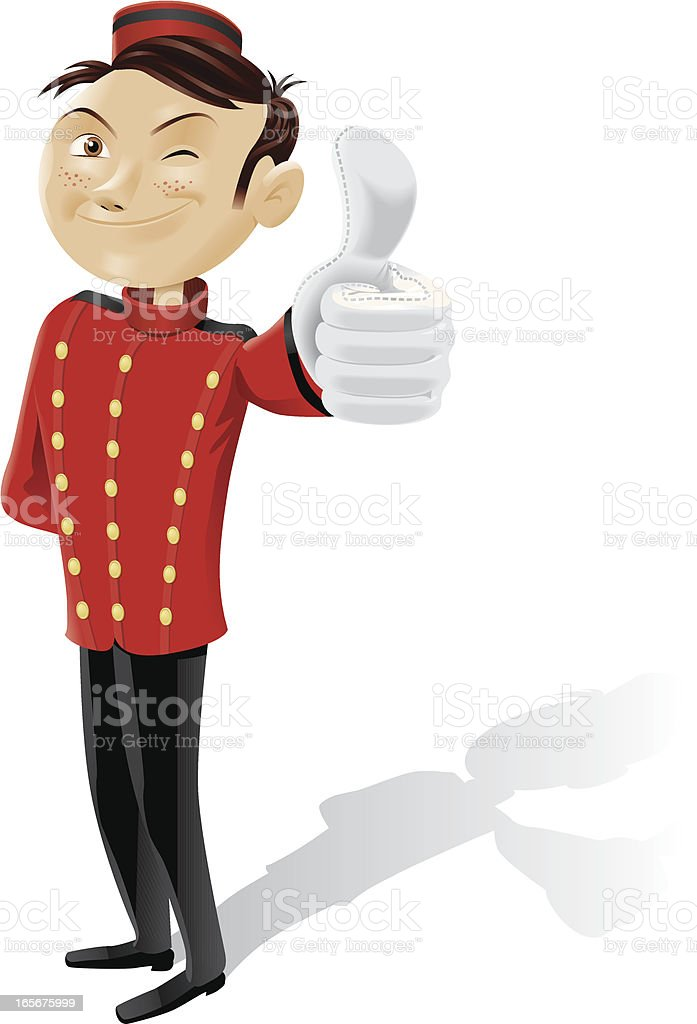 Funny bellboy doing thumbs up sign - isolated full picture royalty-free stock vector art
