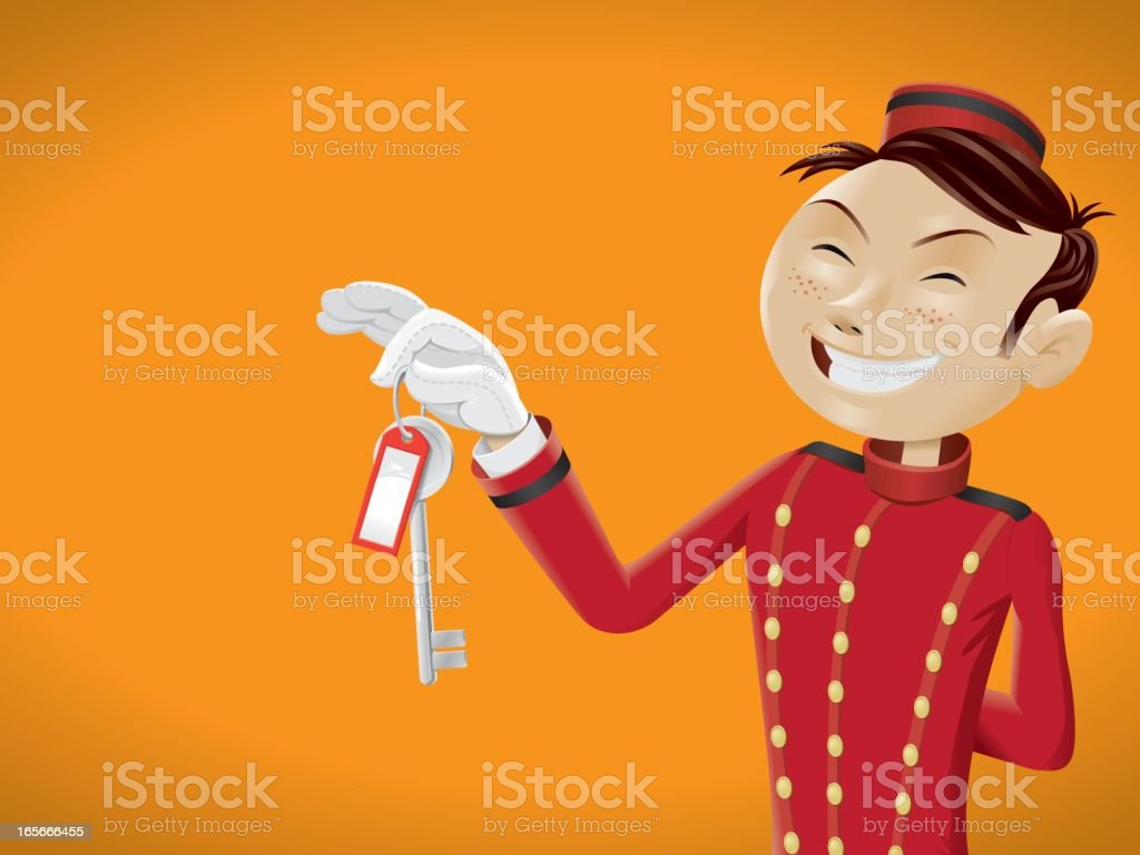 Funny bellboy presenting key royalty-free stock vector art