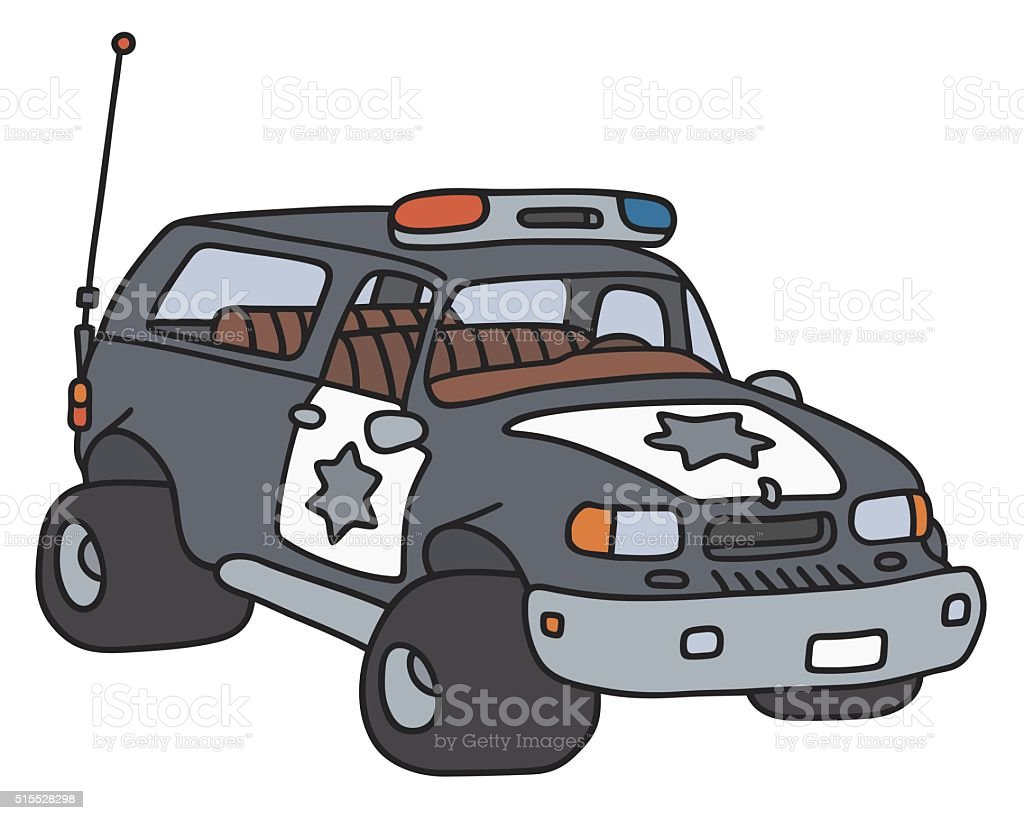 Funny big police car vector art illustration