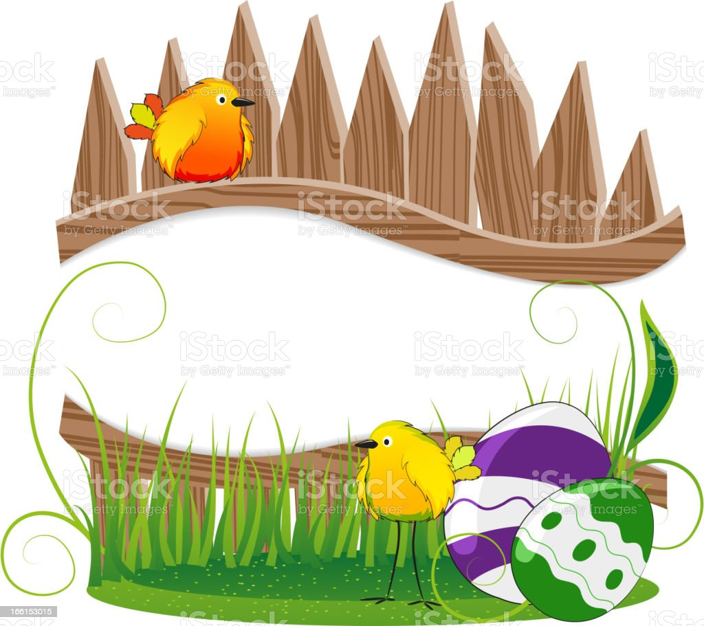 Funny birds and Easter eggs royalty-free stock vector art