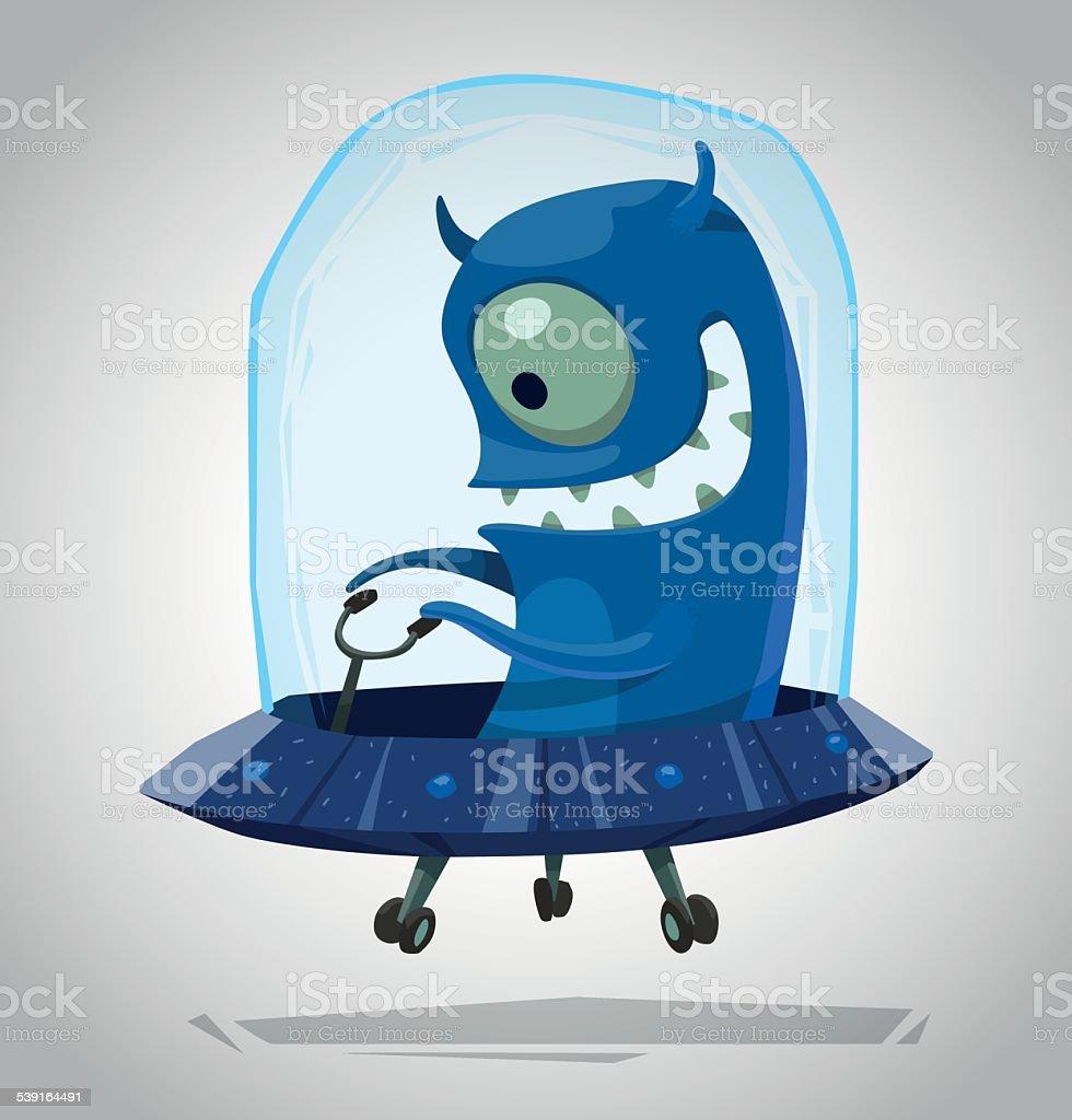Funny Blue Alien vector art illustration
