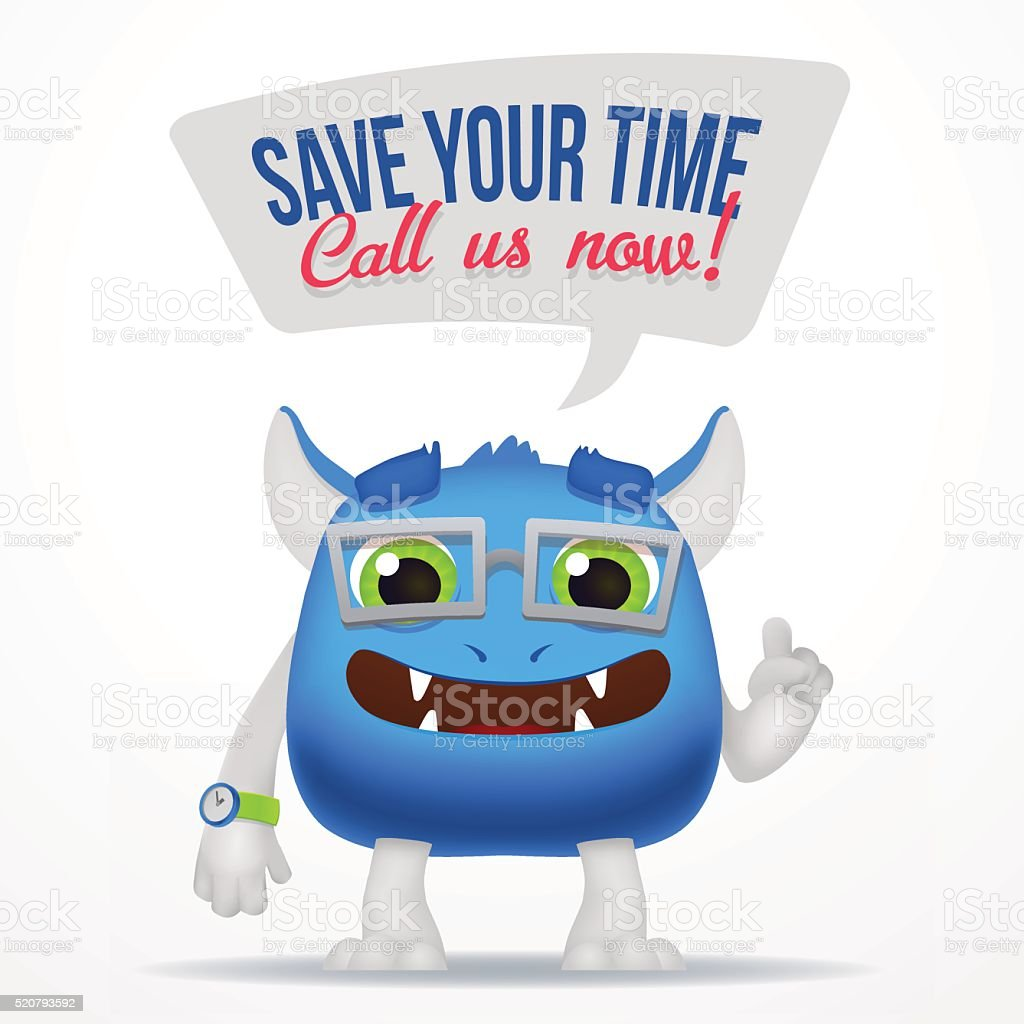 Funny Blue Cartoon alien monster. Save your time, call us vector art illustration