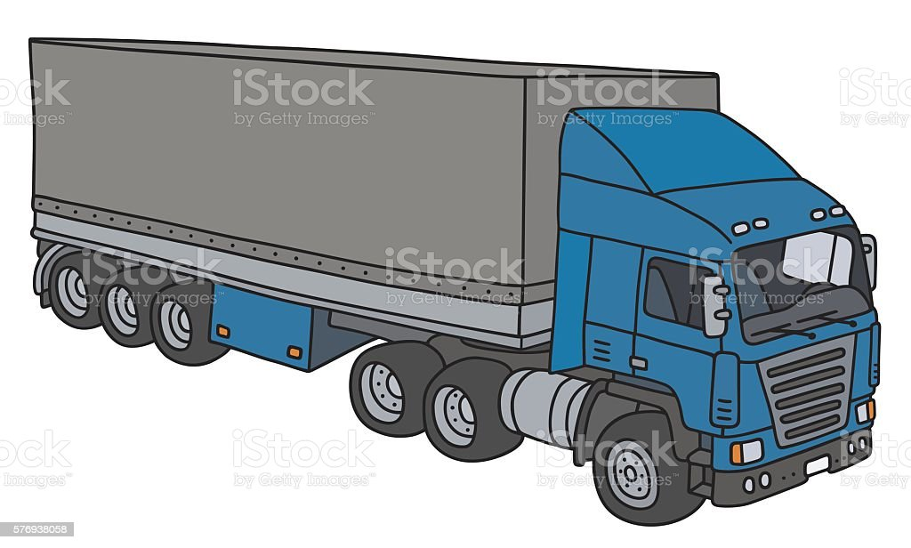 Funny blue cover semitrailer vector art illustration