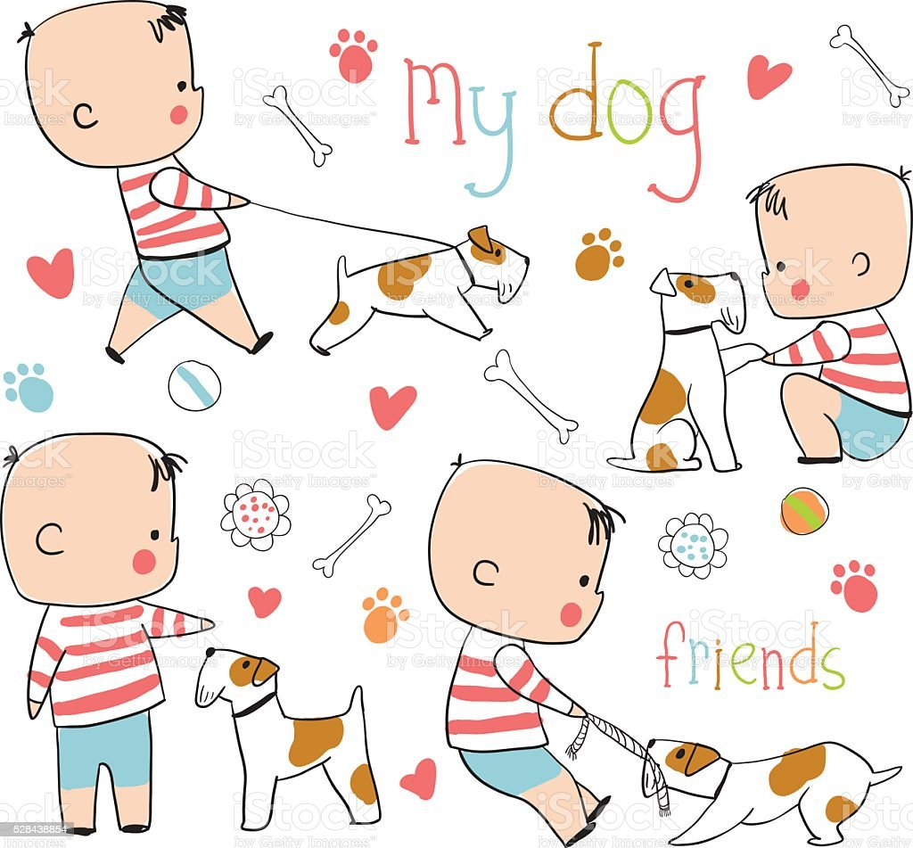 Funny boy and dog. Childish vector set in cartoon style royalty-free stock vector art