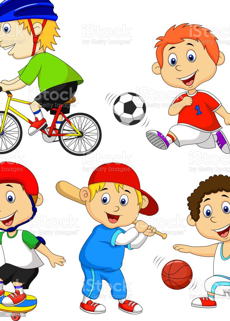 Funny boy cartoon character doing sport royalty-free stock vector art