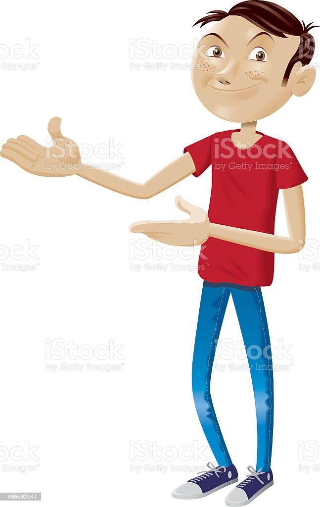 Funny boy doing come in gesture - isolated full picture vector art illustration