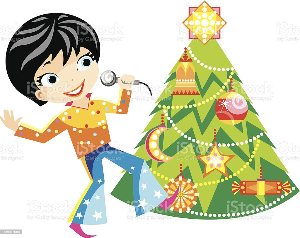 Funny boy with Christmas tree royalty-free stock vector art