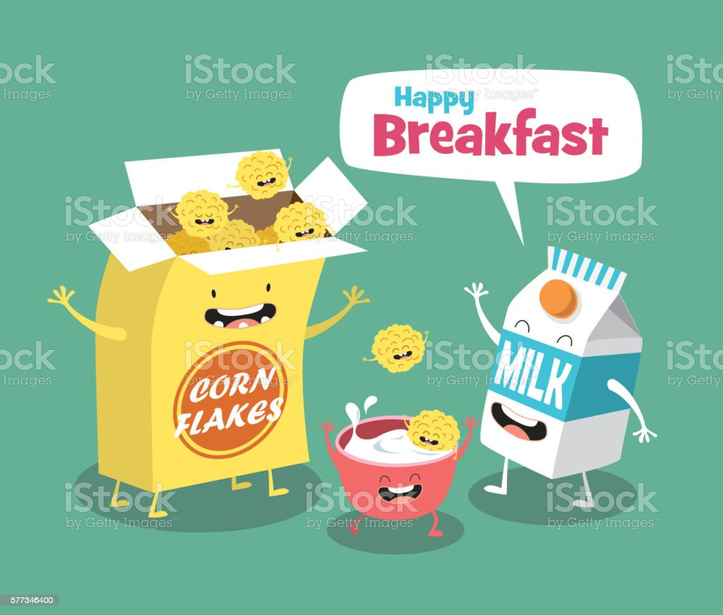 Funny breakfast set. Milk and Cornflakes. Comic characters vector art illustration