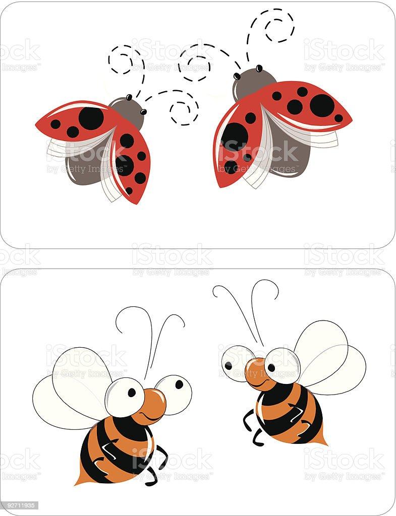 Funny bugs vector art illustration
