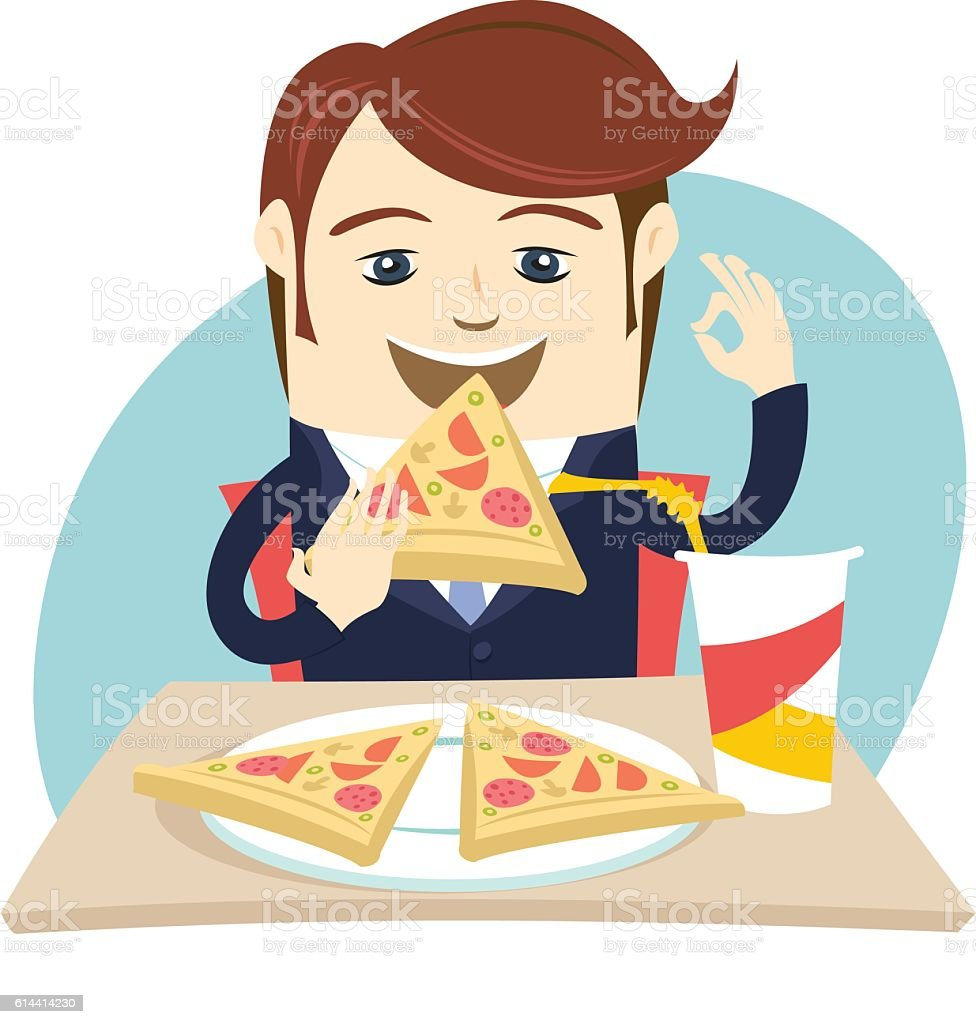 Funny business man eating pizza at cafe table. Flat style vector art illustration