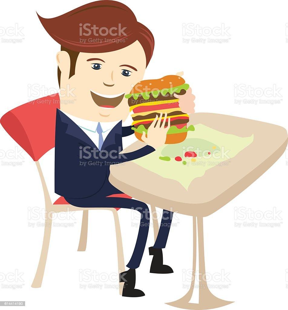 Funny business man eating sandwich burger at cafe table. vector art illustration
