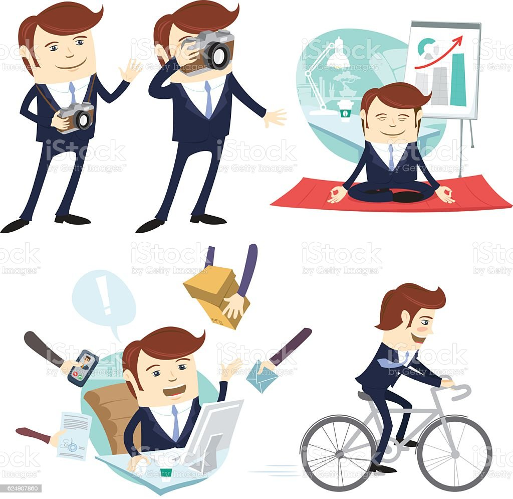 Funny business man wearing suit . Flat style, white background vector art illustration
