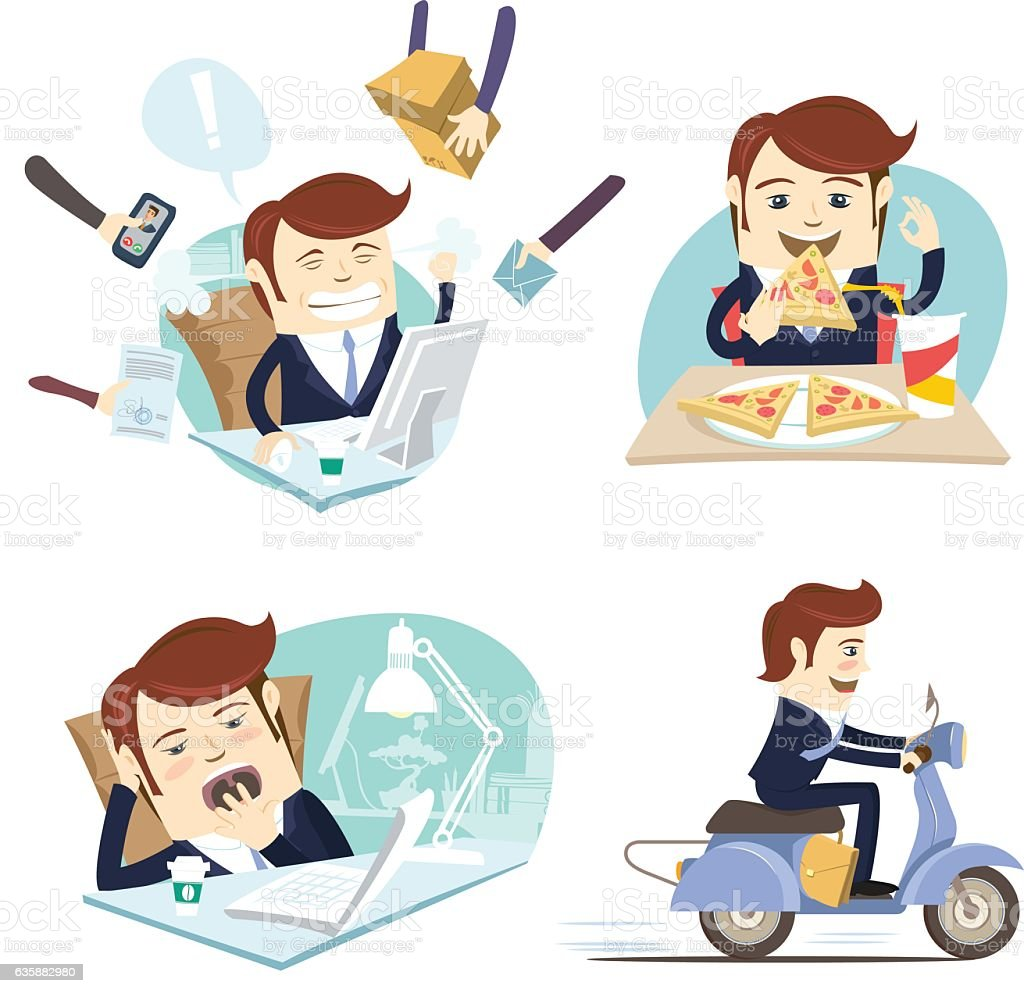 Funny businessman eating pizza, working, yawning ,riding scooter at  workplace. vector art illustration