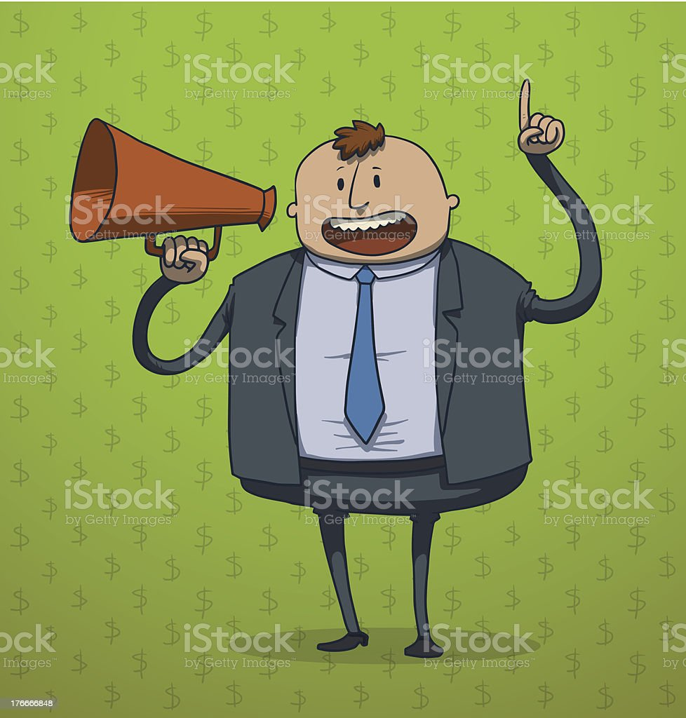 Funny businessman with a megaphone royalty-free stock vector art