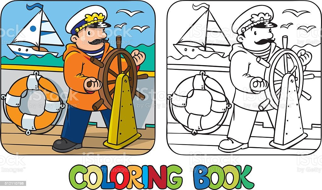 Funny captain or yachtsman. Coloring book vector art illustration