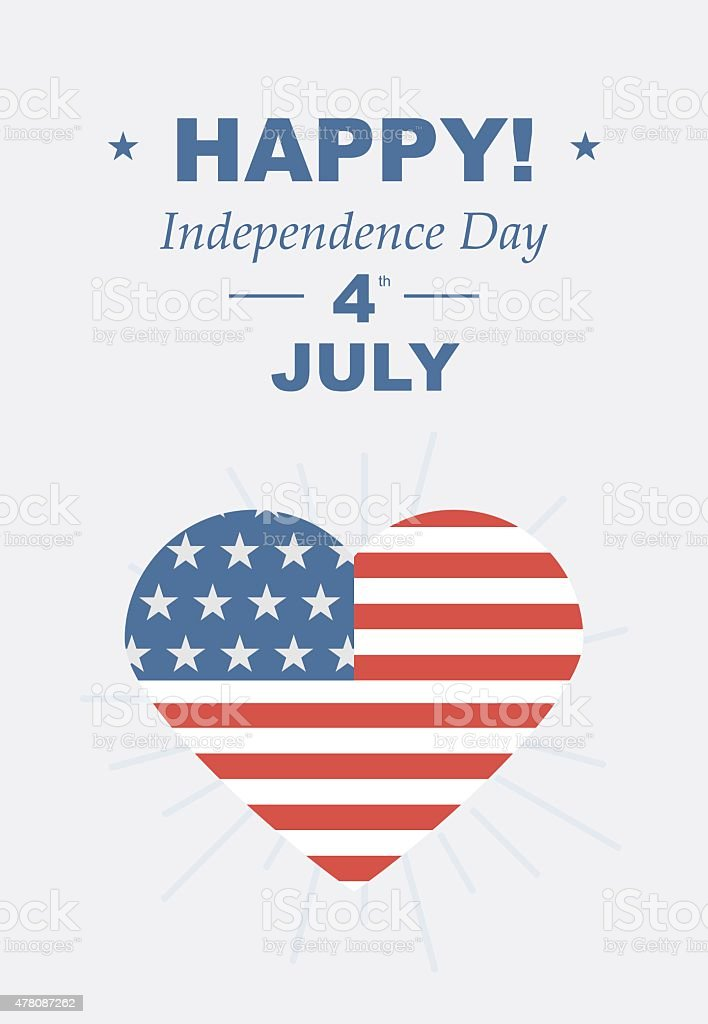 Funny card Happy 4th of July vector art illustration