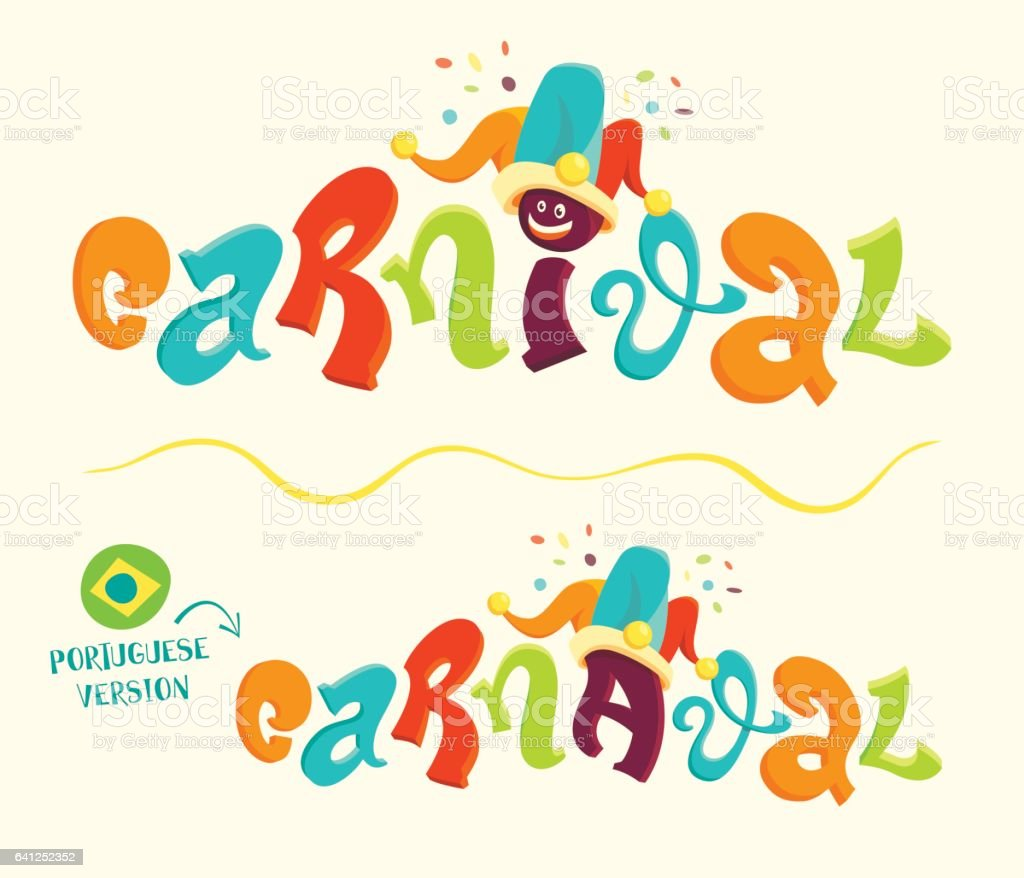 Funny carnival lettering with portuguese version vector art illustration