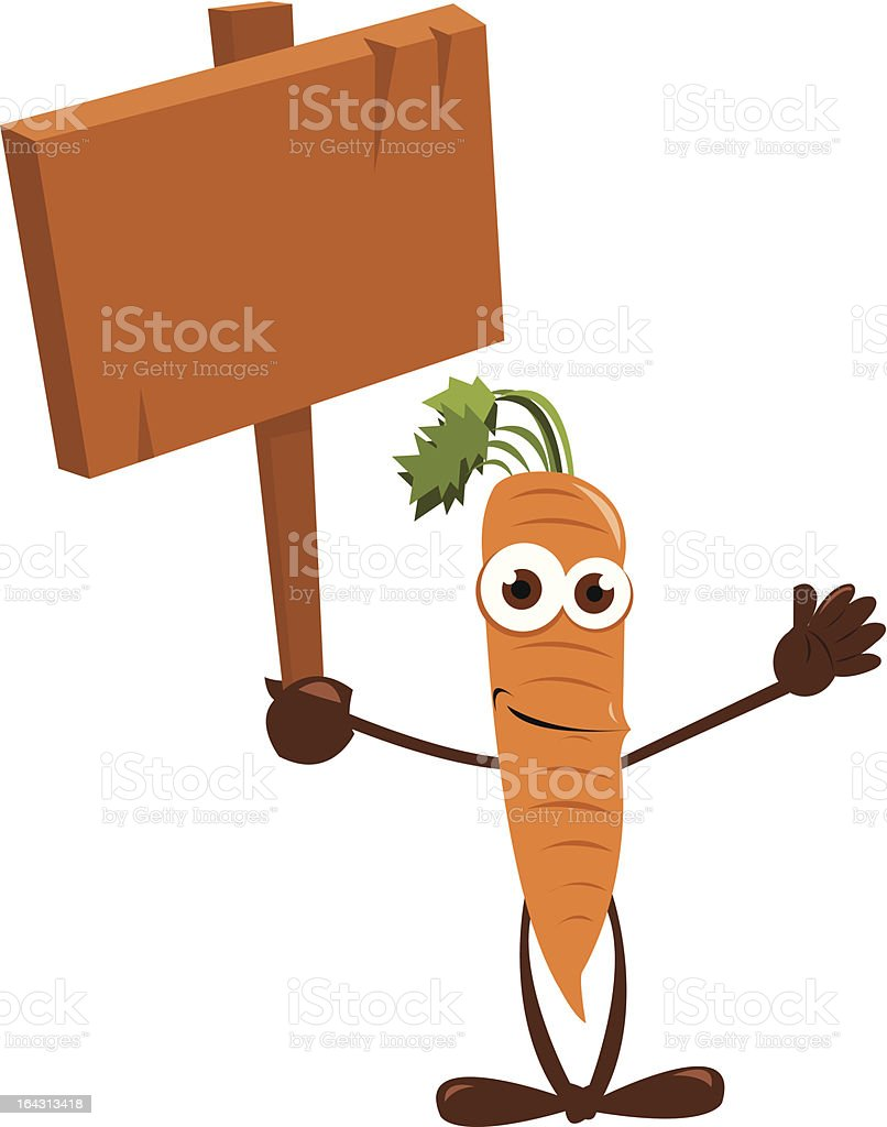 Funny Carrot holding a Sign royalty-free stock vector art