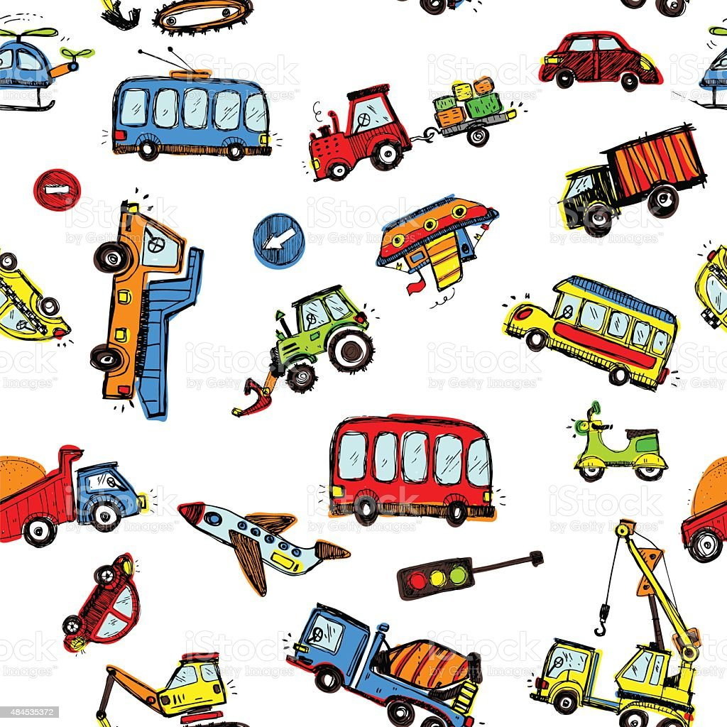 Funny Cars. kids seamless pattern texture. vector art illustration