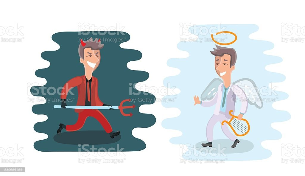 Funny cartoon angel and devil dressed in suit vector art illustration
