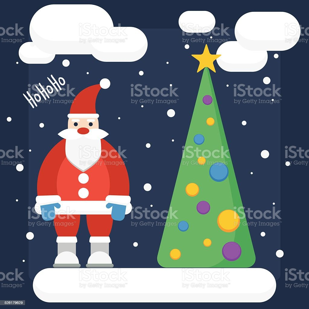 funny cartoon background with Santa in trendy flat style colors vector art illustration