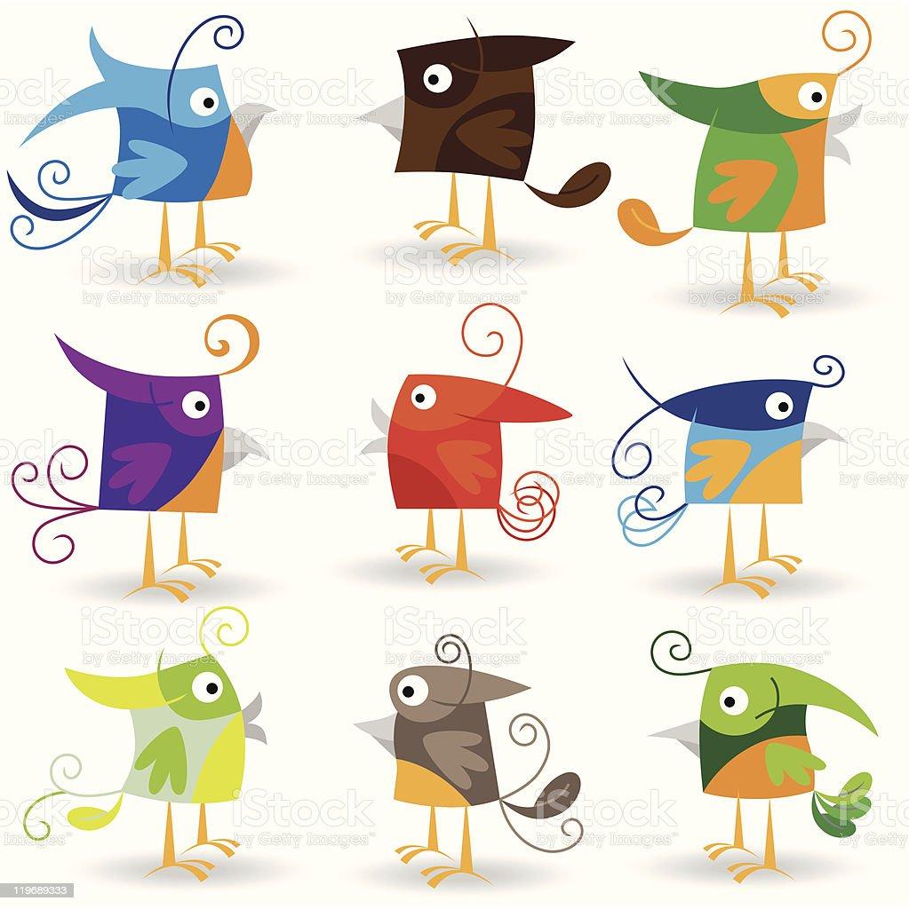 Funny cartoon birds collection royalty-free stock vector art