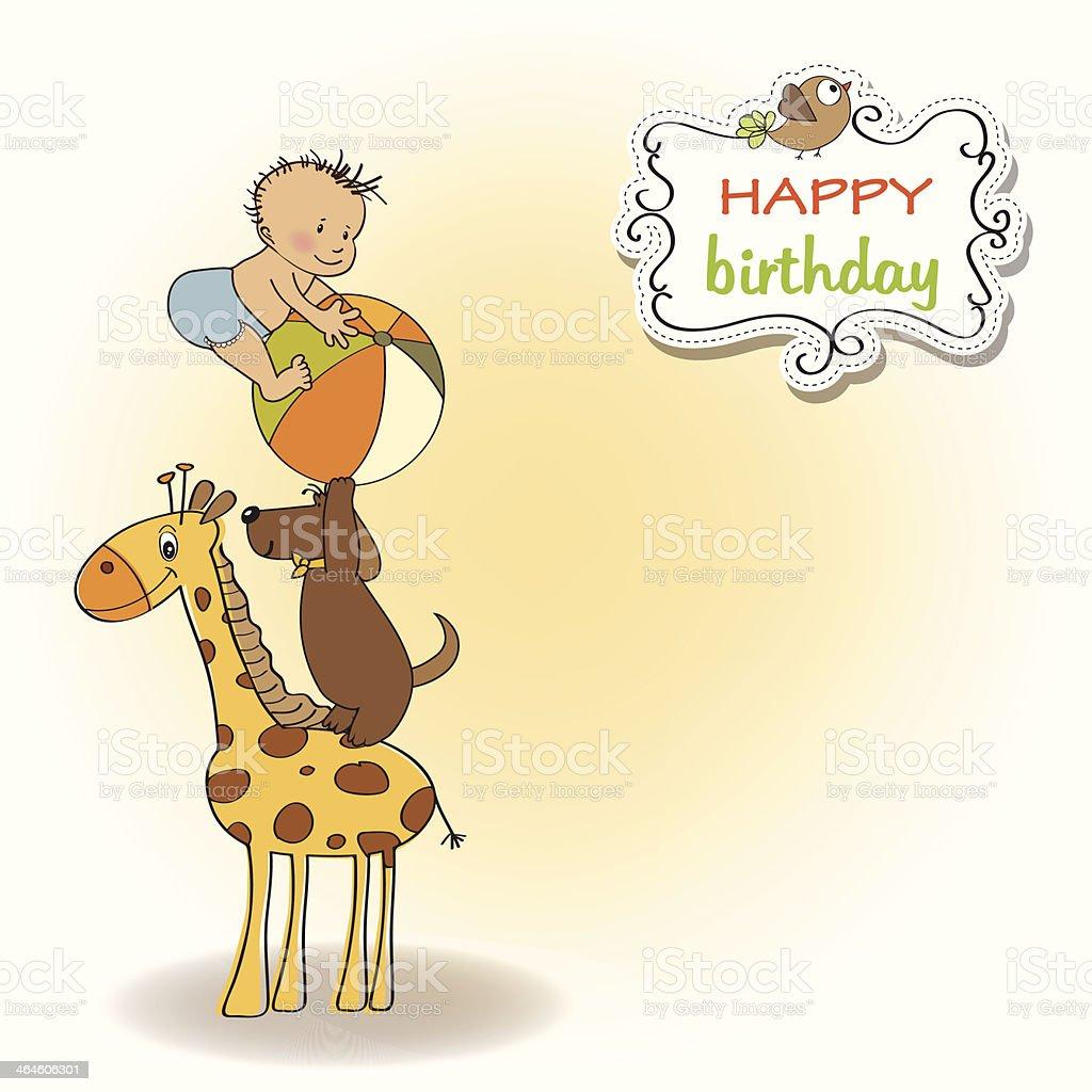funny cartoon birthday greeting card vector art illustration