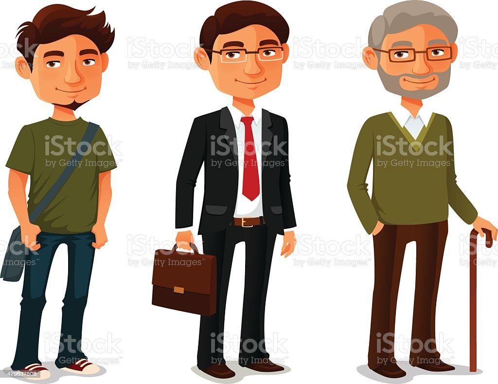 funny cartoon characters showing age progress vector art illustration