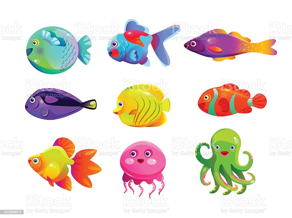 Monstre dr le dene dessin anim de poissons color s for Aquarium poisson rouge dessin