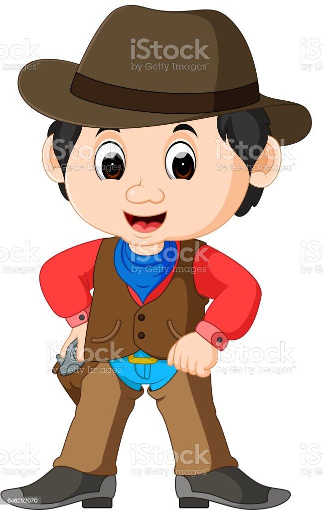 Funny cartoon cowboy vector art illustration