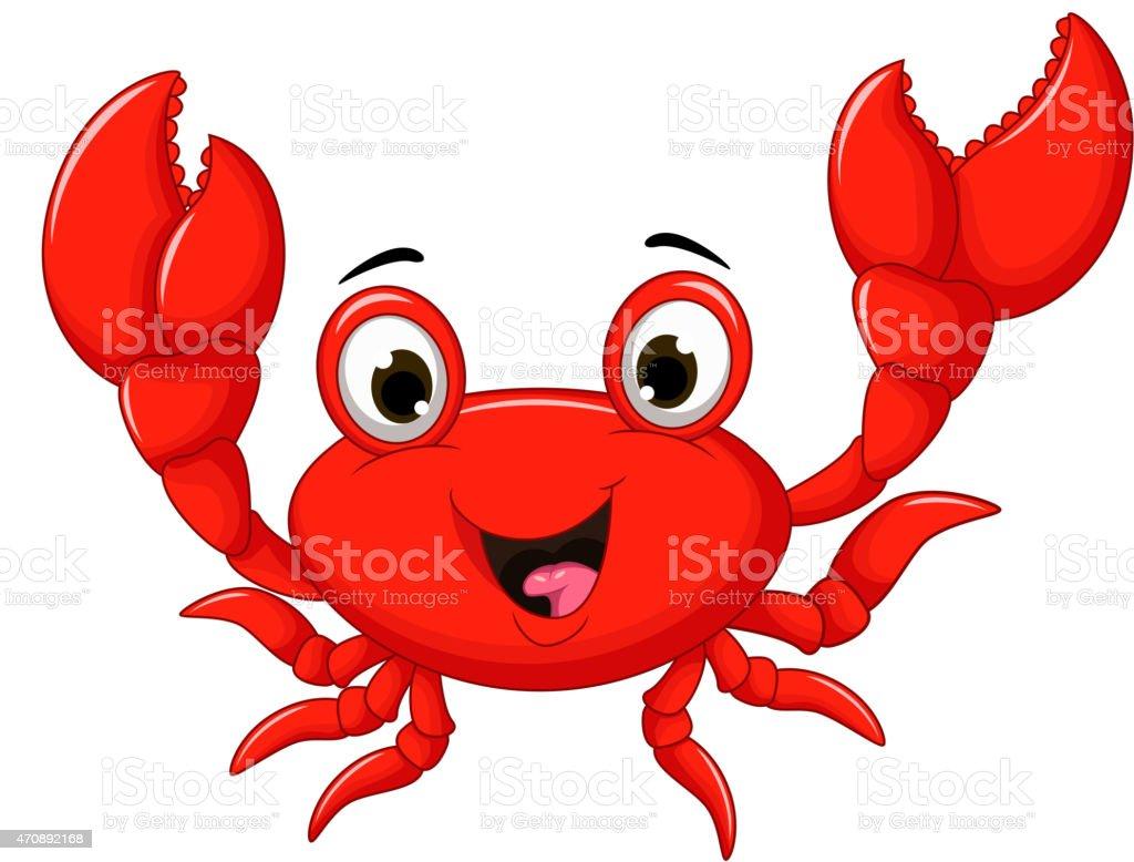 funny cartoon crab vector art illustration