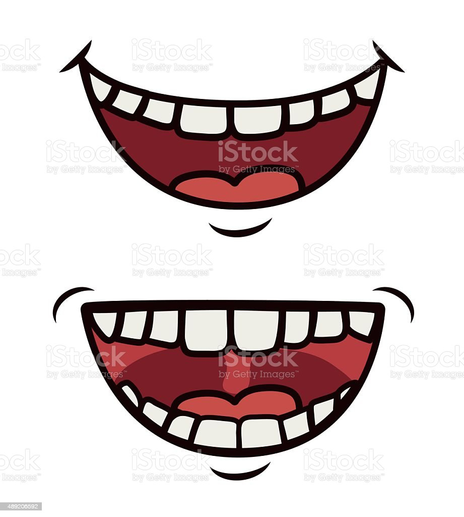 Funny cartoon face vector art illustration